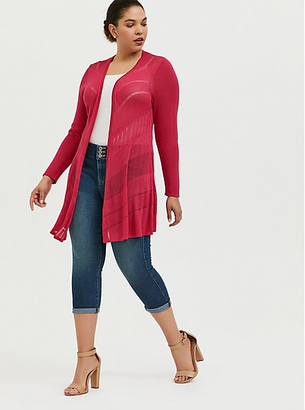 Plus Size Fuchsia Pink Pointelle Open Cardigan, PINK PASSION, alternate