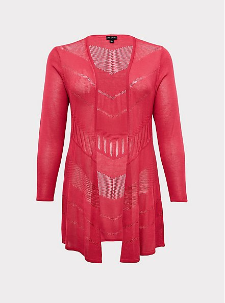 Plus Size Fuchsia Pink Pointelle Open Cardigan, PINK PASSION, hi-res