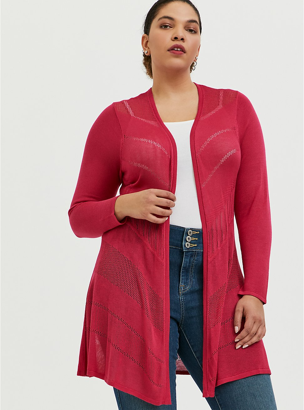 Fuchsia Pink Pointelle Open Cardigan, PINK PASSION, hi-res