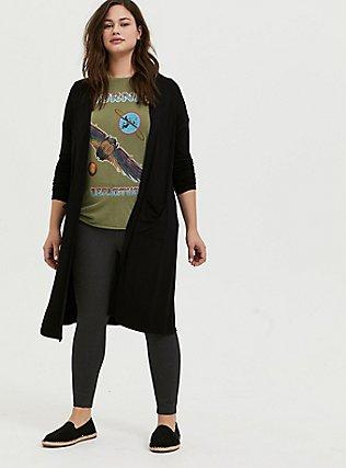 Plus Size Super Soft Black Longline Cardigan, DEEP BLACK, alternate