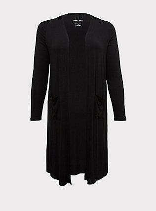 Plus Size Super Soft Black Longline Cardigan, DEEP BLACK, flat