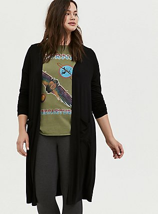 Plus Size Super Soft Black Longline Cardigan, DEEP BLACK, hi-res