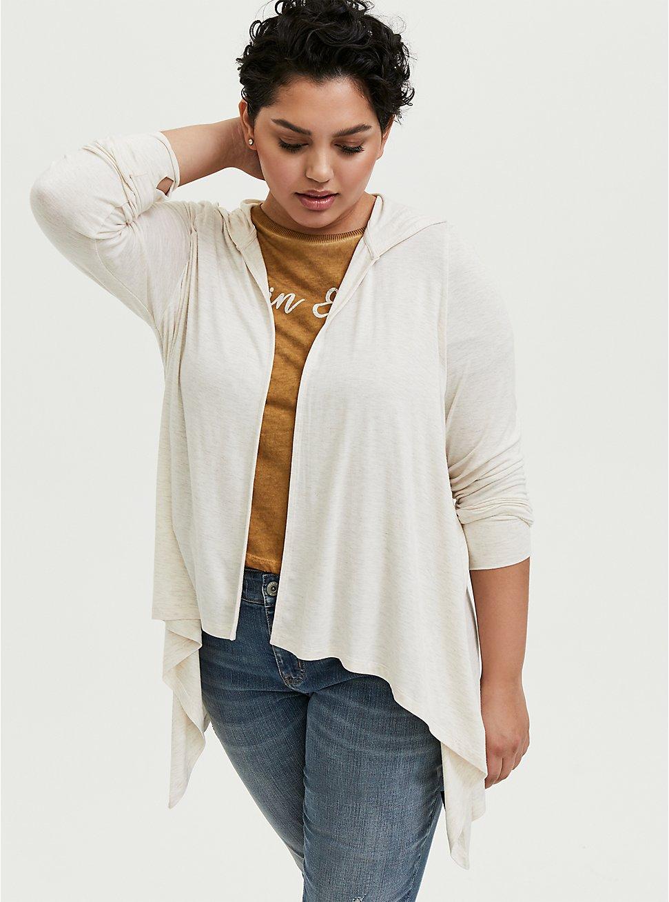 Plus Size Super Soft Oatmeal Drape Front Hooded Cardigan, OATMEAL HEATHER, hi-res