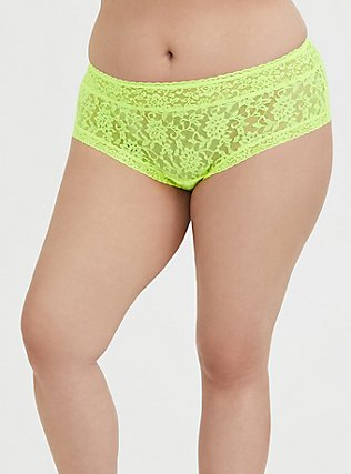 Neon Yellow Lacey Cheeky Panty, SAFETY YELLOW, hi-res