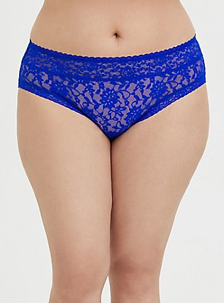 Plus Size Electric Blue Lacey Hipster Panty, ELECTRIC BLUE, hi-res