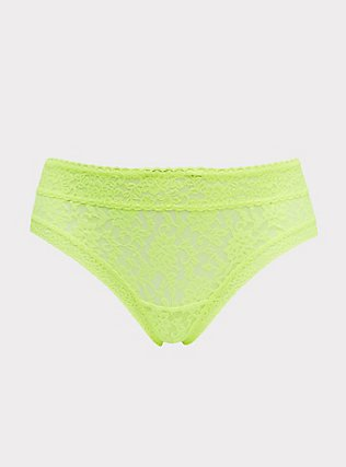 Neon Yellow Lacey Hipster Panty, SAFETY YELLOW, flat