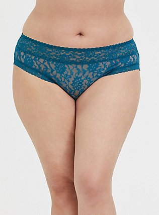 Plus Size Teal Blue Lacey Hipster Panty, , hi-res