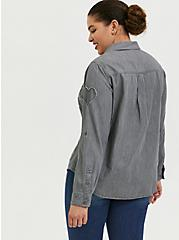 Plus Size Taylor - Dark Grey Denim Heart Button Front Relaxed Fit Shirt, SMOKED PEARL, alternate