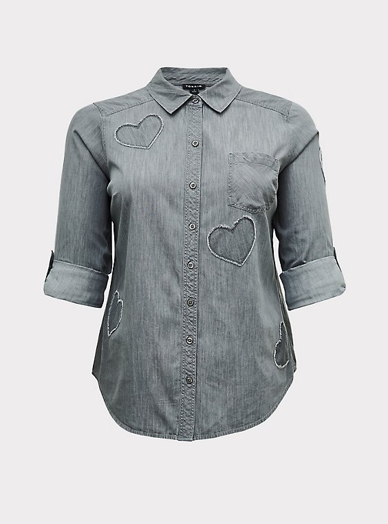 Plus Size Taylor - Dark Grey Denim Heart Button Front Relaxed Fit Shirt, , flat