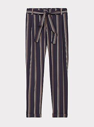 Dark Slate Grey Multi Stripe Crepe Self Tie Tapered Pant, STRIPES, flat