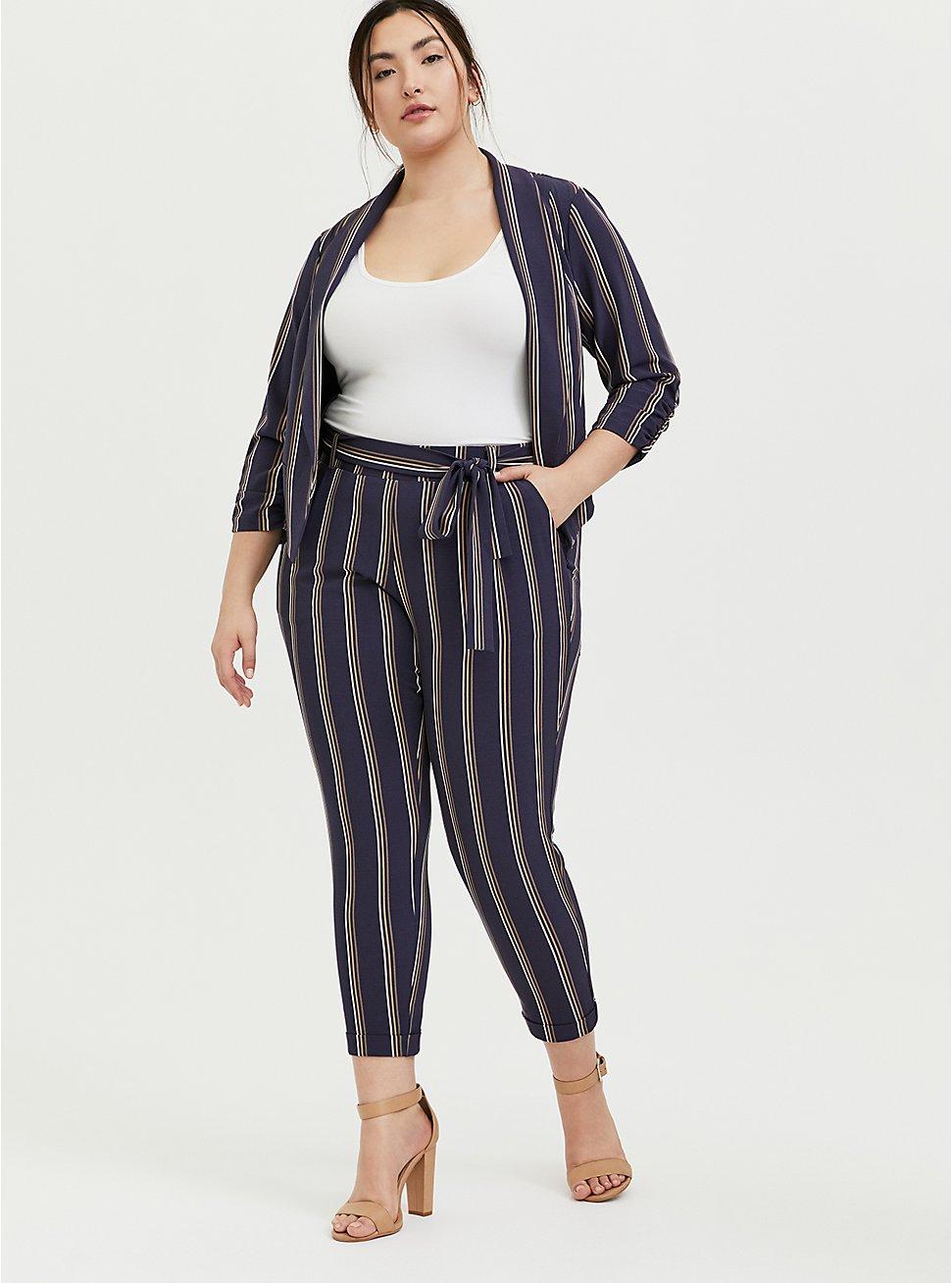 Dark Slate Grey Multi Stripe Crepe Self Tie Tapered Pant, STRIPES, hi-res