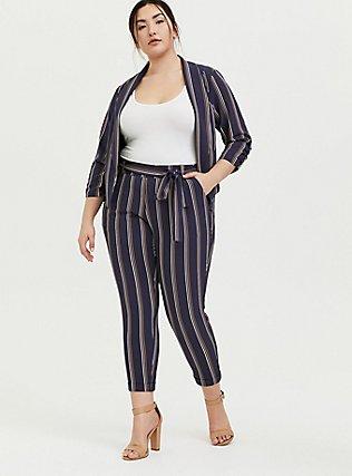 Dark Slate Grey Multi Stripe Crepe Tie Front Tapered Pant, STRIPES, hi-res