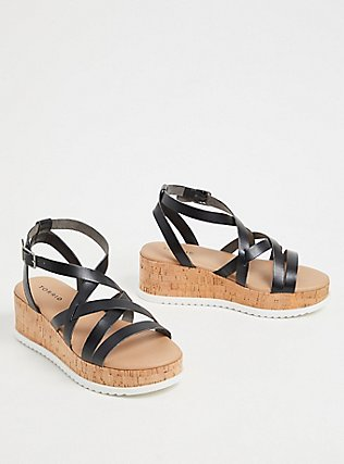 Black Faux Leather & Cork Platform Gladiator Sandal (WW), BLACK, alternate