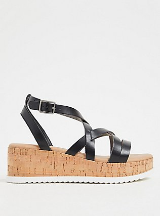 Black Faux Leather & Cork Platform Gladiator Sandal (WW), BLACK, hi-res