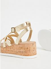 Plus Size Gold-Tone Faux Leather & Cork Platform Gladiator Sandal (WW), GOLD, alternate