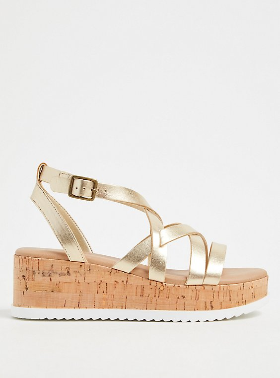 Gold-Tone Faux Leather & Cork Platform Gladiator Sandal (WW), , hi-res