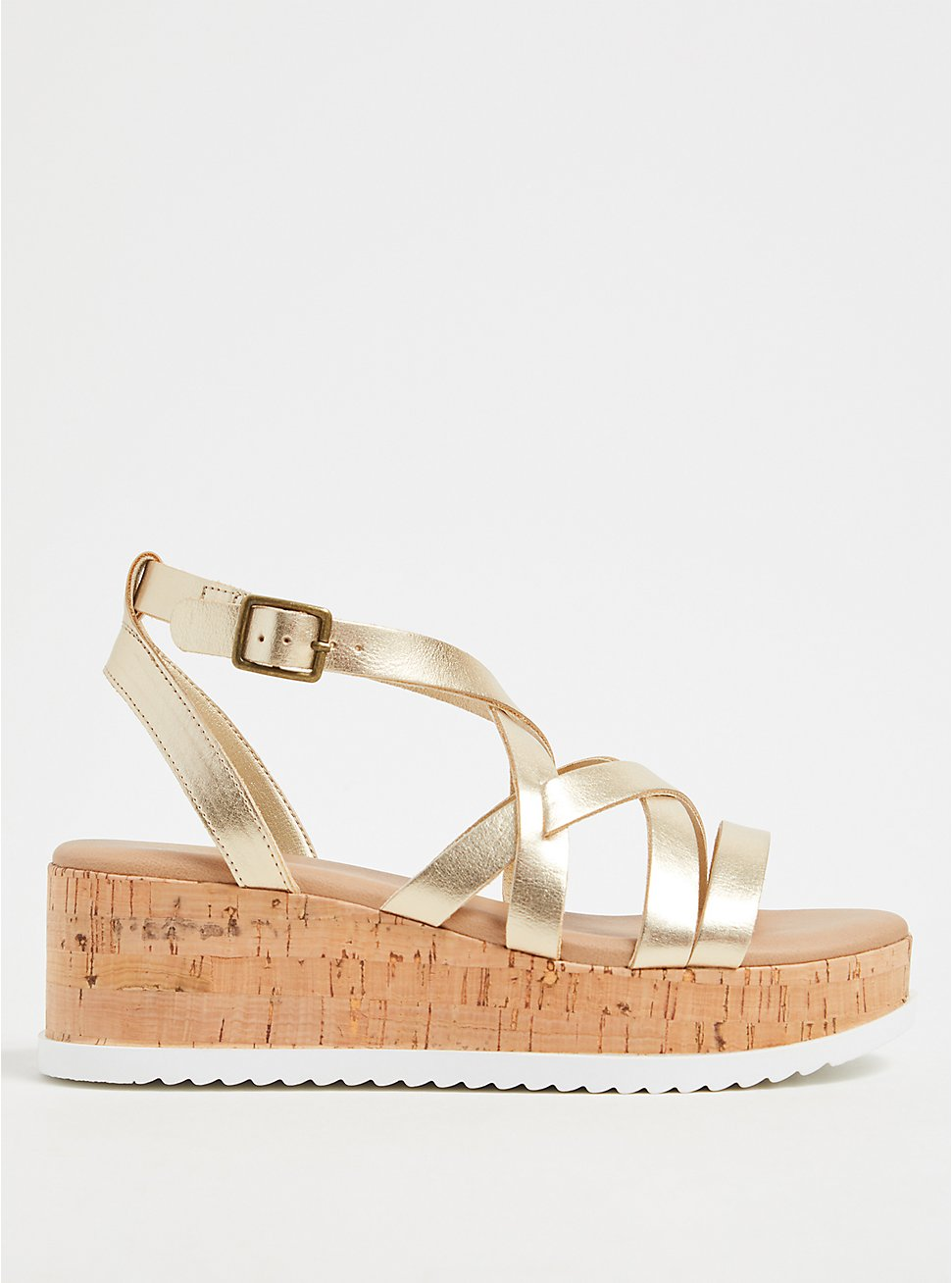 Gold-Tone Faux Leather & Cork Platform Gladiator Sandal (WW), GOLD, hi-res