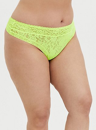 Neon Yellow Lacey Thong Panty, SAFETY YELLOW, hi-res