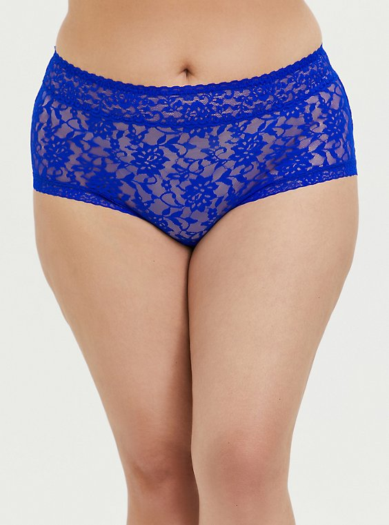 Plus Size Electric Blue Lacey Brief Panty, , hi-res