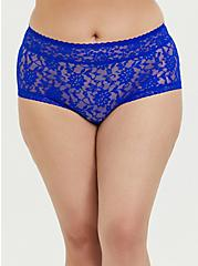 Plus Size Electric Blue Lacey Brief Panty, ELECTRIC BLUE, hi-res