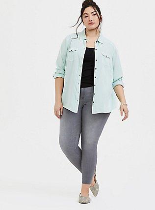 Plus Size Taylor - Mint Green Twill Classic Fit Camp Shirt , MOONLIGHT JADE, alternate