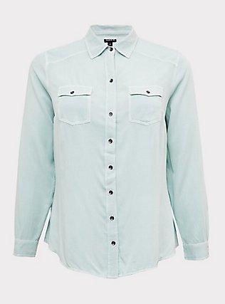 Plus Size Taylor - Mint Green Twill Classic Fit Camp Shirt , MOONLIGHT JADE, flat
