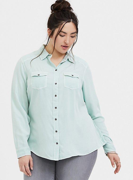 Taylor - Mint Blue Twill Classic Fit Camp Shirt , , hi-res