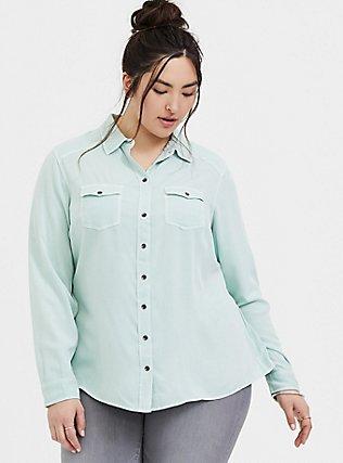 Plus Size Taylor - Mint Green Twill Classic Fit Camp Shirt , MOONLIGHT JADE, hi-res