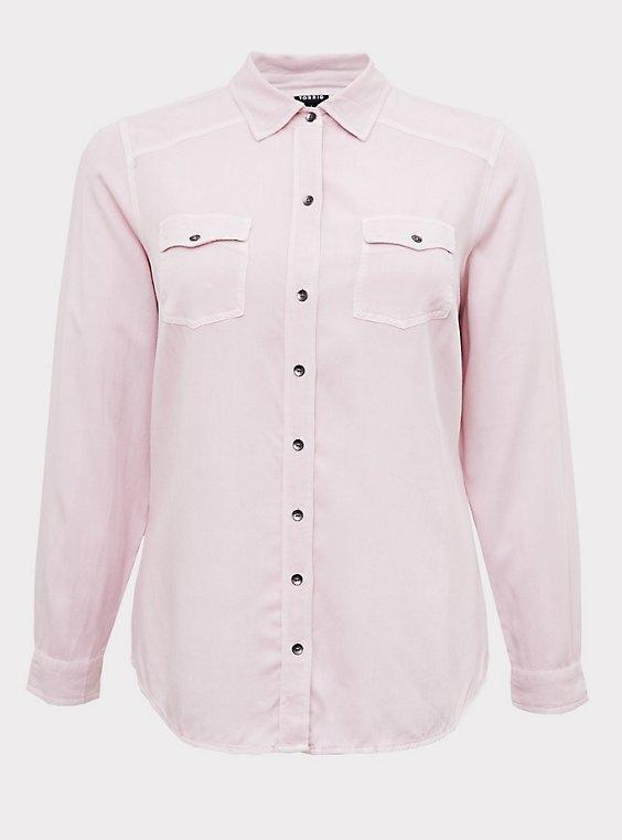 Taylor - Lilac Pink Twill Slim Fit Camp Shirt , , flat