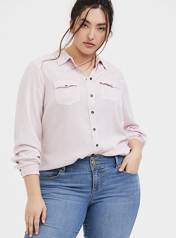 Plus Size Taylor - Lilac Pink Twill Button Front Classic Fit Shirt , , hi-res