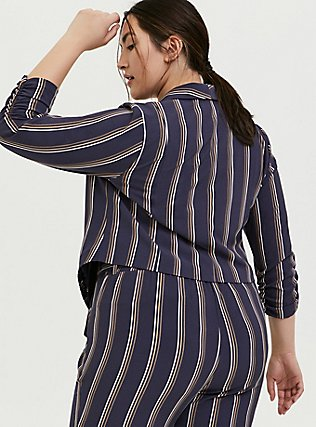 Dark Slate Grey Stripe Crepe Cutaway Blazer, STRIPES, alternate