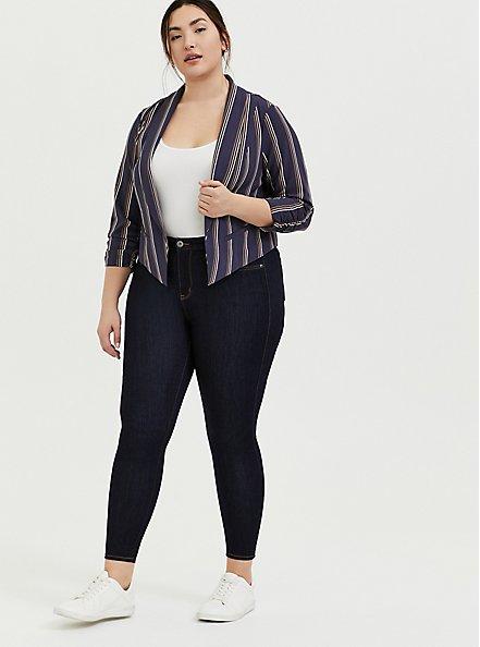 Plus Size Dark Slate Grey Stripe Crepe Cutaway Blazer, STRIPES, alternate