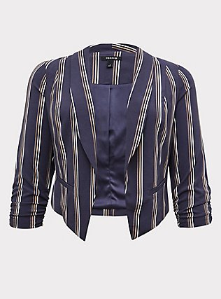 Dark Slate Grey Stripe Crepe Cutaway Blazer, STRIPES, flat