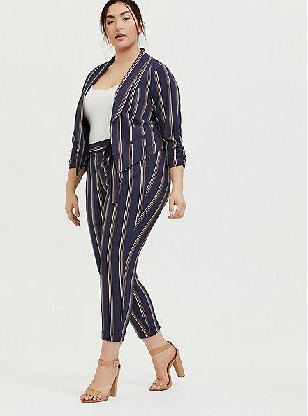 Plus Size Dark Slate Grey Stripe Crepe Cutaway Blazer, STRIPES, hi-res