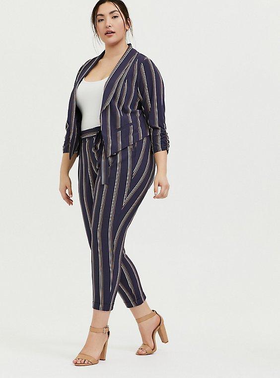 Plus Size Dark Slate Grey Stripe Crepe Cutaway Blazer, , hi-res