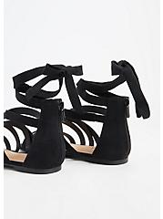 Black Faux Suede Ankle Wrap Gladiator Sandal (WW), BLACK, alternate