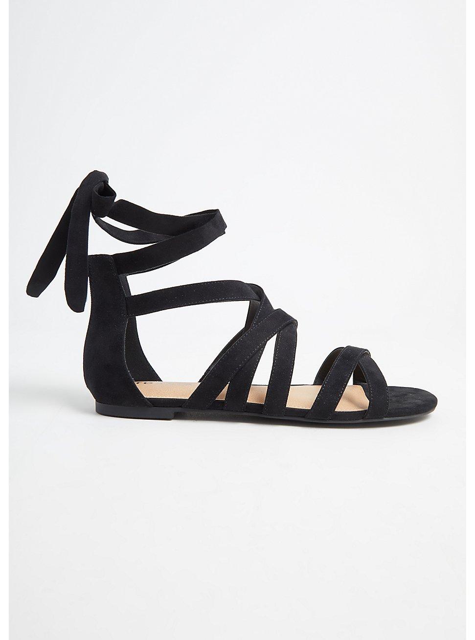 Black Faux Suede Ankle Wrap Gladiator Sandal (WW), BLACK, hi-res