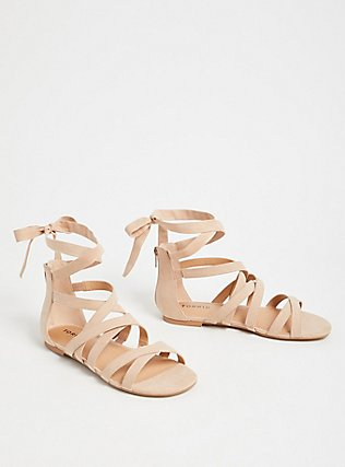 Nude Faux Suede Lace-Up Gladiator Sandals (WW), NUDE, alternate