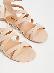 Beige Faux Suede Lace-Up Gladiator Sandals (WW), , alternate