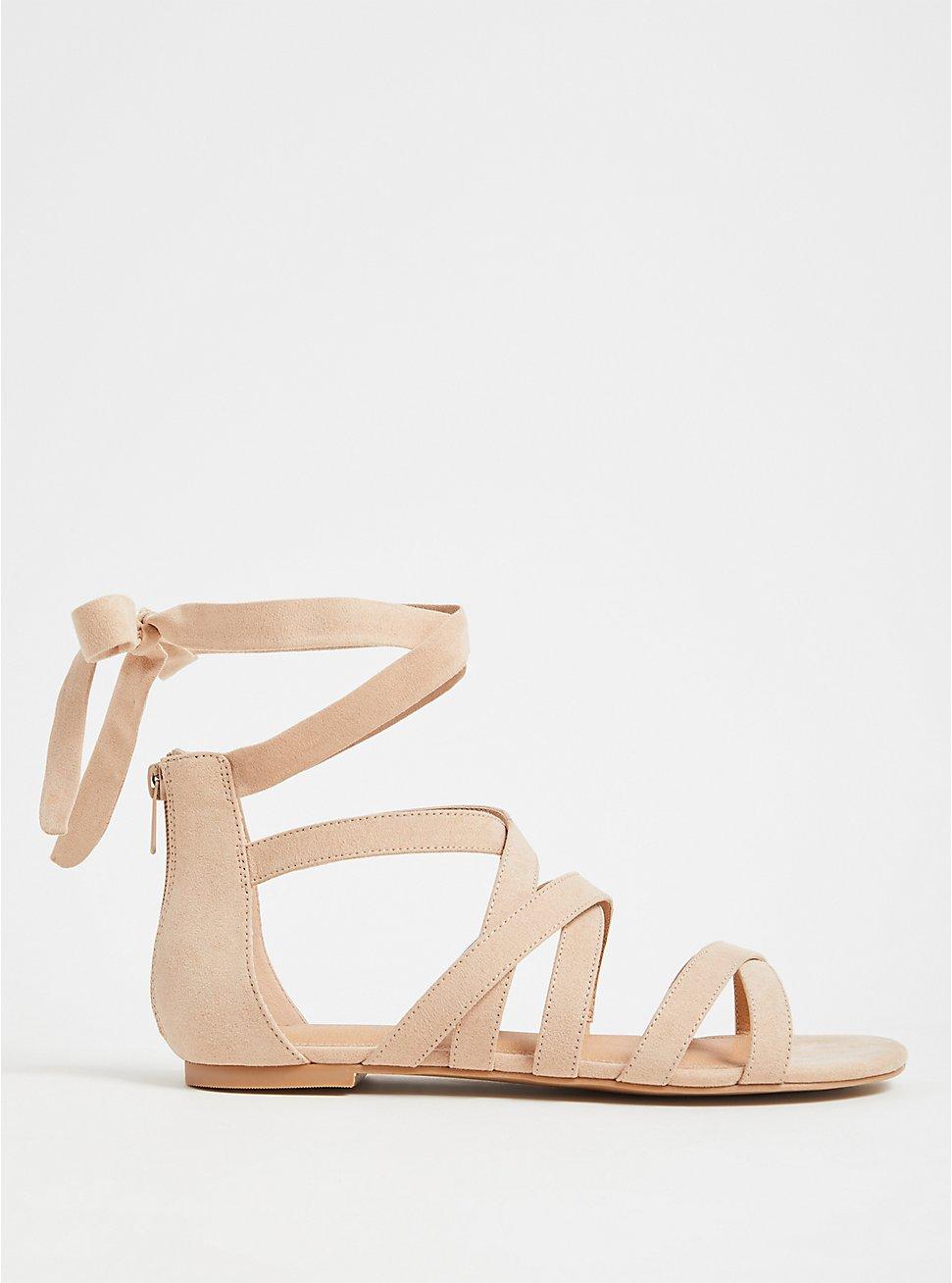 Beige Faux Suede Lace-Up Gladiator Sandals (WW), , hi-res