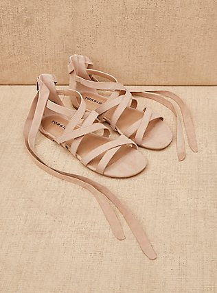 Nude Faux Suede Lace-Up Gladiator Sandals (WW), NUDE, pdped