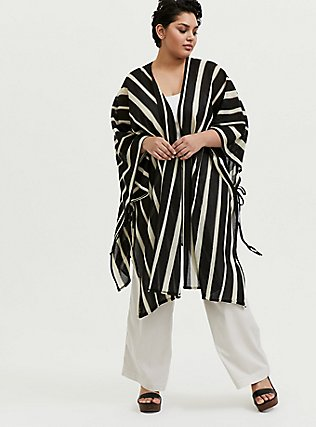 Black & Ivory Stripe Ruana, , alternate
