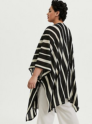 Plus Size Black & Ivory Stripe Ruana, , alternate