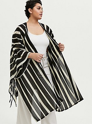 Black & Ivory Stripe Ruana, , hi-res