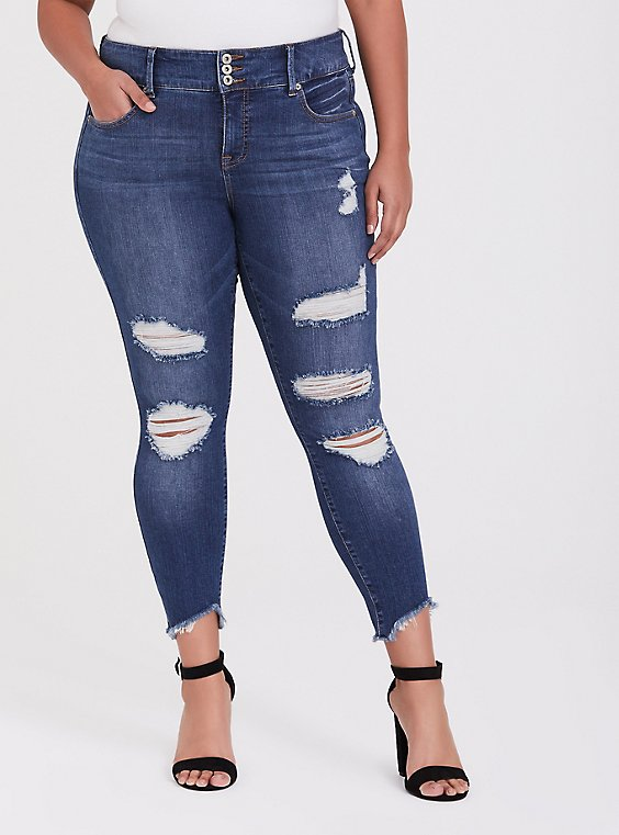 Jegging - Premium Stretch Medium Wash with Deconstructed Hem, , hi-res