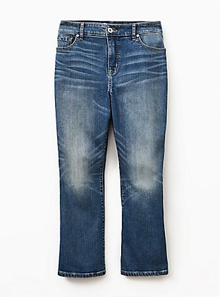 Crop Flare Jean - Vintage Stretch Medium Wash, BACKSEAT BINGO, flat