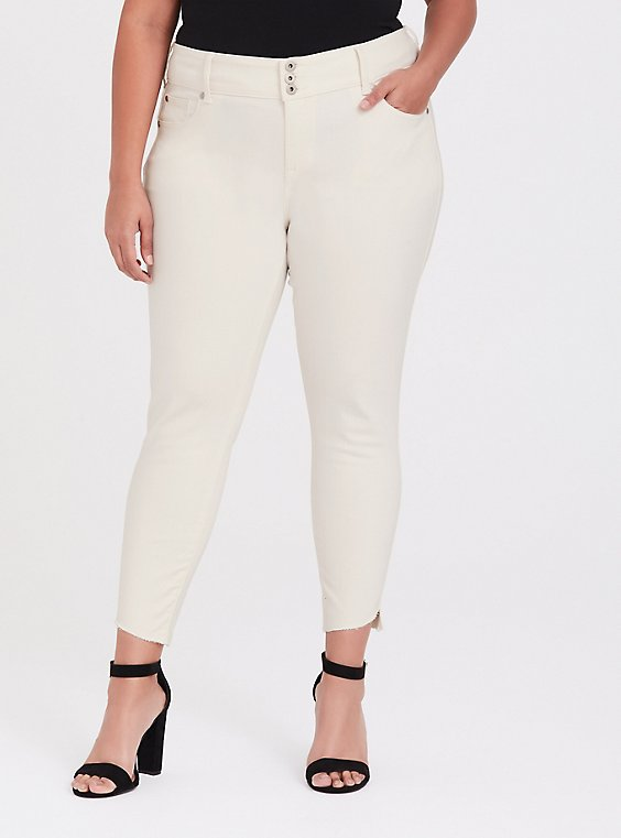 Plus Size Jegging- Vintage Stretch Off White with Step Hem, , hi-res