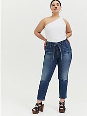 Plus Size Mid Rise Straight Jean - Vintage Stretch Medium Wash with Sash, SHELBY 68, alternate