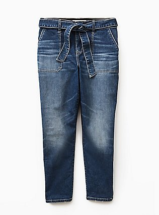 Plus Size Mid Rise Straight Jean - Vintage Stretch Medium Wash with Sash, SHELBY 68, flat
