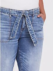 Mid Rise Straight Jean- Vintage Stretch Light Wash with Sash, SLOW MOTION, alternate